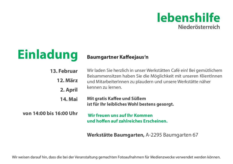 Baumgartner Kaffeejaus´n - Lebenshilfe Baumgarten